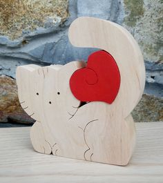 Free shipping Litle cat big heart Gift to the Valentine's day Wood puzzle by DayDreamToys on Etsy