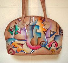 Vintage 1980s Hand Painted Leather Purse