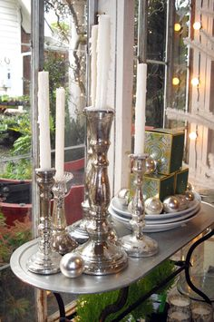 Lovely silver home decor for the Holidays at Primrose Antiques & Fancy Goods.