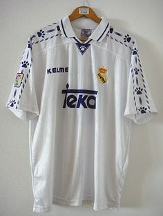 Real Madrid Home football shirt 1996 Football Shirts, Football Team, Real Madrid Football Club, Soccer, T Shirt, Tops, Fashion, Supreme T Shirt, Moda