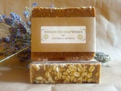 Gentle Soul Soap - Mom's Winter Wonderbar with Honey and Oatmeal. Free of heavy scents, made for sensitive skin, and contains oats as an exfoliant.