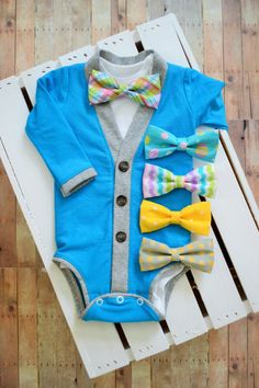 Easter Spring Cardigan Onesie: Turquoise with Gray Trim with Interchangeable Tie Shirt and Bow Tie