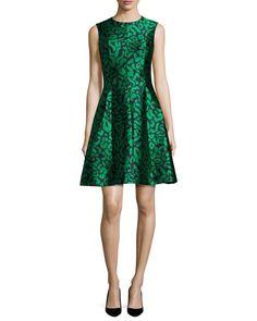 Sleeveless Leopard-Print Cocktail Dress, Green/Navy