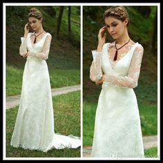 Wholesale A Line Wedding Dresses - Buy 2014 Vintage White V Neck Long Sleeve A Line Lace Wedding Dresses Chapel Train Zipper Back Bridal Gowns, $96.49 | DHgate.com