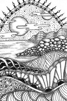 New Ideas Art Ideas For Adults Creativity Zentangle Doodle Art, Tangle Doodle, Zen Doodle, Zentangle Drawings, Doodles Zentangles, Doodle Drawings, Pencil Drawings, Zantangle Art, Zen Art