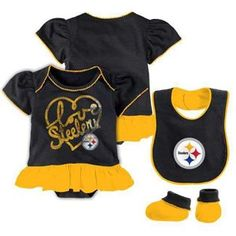 Show details for Pittsburgh Steelers Infant Newborn Girl s Player Creeper  Bootie  amp  Bib Set e9d4f4841