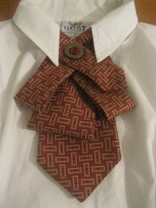 Red, bronze womens necktie upcycled from a men's preloved necktie