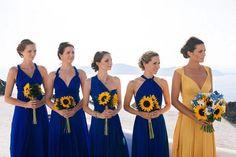 Love that the maid of honor is in a different color! #Repost @wantthatwedding ・・・ Such bright colours for the maids! #santoriniwedding #santorini #destinationweddings #beachweddings wedding credits / photographer: vangelis photography @vangelisphotography / wedding venue: rocabella hotel @rocabellasantorini / event planner: the bridal consultants @thebridalconsultants / brides dress: amanda wakeley @amandawakeley / brides veil: jenny packham @jennypackham / grooms suit: hugo boss / brides…