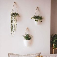 3 Ceramic Hanging Planter Indoor Set, Wall Planter Indoor, Wall Ceramic Planter, Succulent Planter Plant Hanger, Set of 3 Hanging Plant Pot - Modern