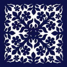 Blue Plumeria Quilt by James Temple