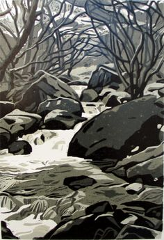 Y Graig (The Rock) - Linocut (5 colour) by Ann Lewis. Just got this in the post, today. Thrilled with it!