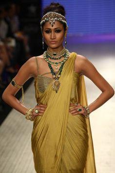 Golden sari.