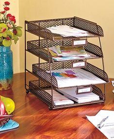 The Desktop File Organizer has 4 tiers to help you bring order to any bills or paperwork, all of your mail, files and more. Use it at home or at the office. On your kitchen countertop, it will help you organize recipes, grocery receipts and more.