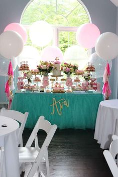 The dessert table at this Pink Peony First Communion is stunning!!! See more party ideas and share yours at CatchMyParty.com #catchmyparty #1stcommunion #desserttable