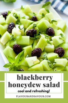 A spectacular blackberry honeydew melon salad with only 3 ingredients and a simple sweet dressing! Cool, refreshing and healthy! #easy #vegan #melon #blackberries Melon Recipes, Great Salad Recipes, Fruit Recipes, Real Food Recipes, Vegetarian Recipes, Healthy Recipes, Salad Ideas, Snacks Recipes, Delicious Recipes