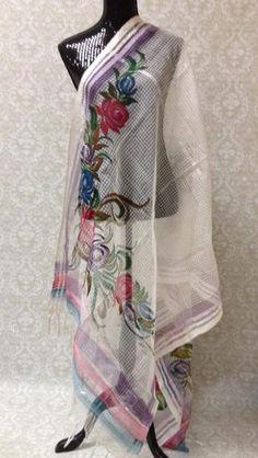 Handpainted Cotton Dupatta With Beautiful Floral Painting- Off White - 2  Soie, Art De efc1ed8d299