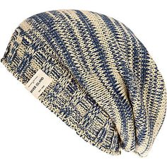 ecru and blue slouch beanie hat - hats - accessories - men - River Island