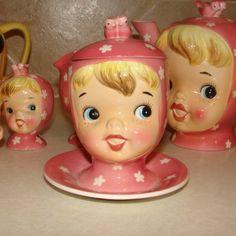 Napco Miss Cutie Pie Jam Jar w/attached Saucer - Pink Just love this set ♥