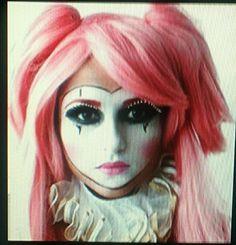 Auntie Christie's pink clown makeup!