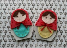 felt russian dolls. Put on canvas like other painted design.
