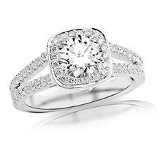 1.18 Carat Round Cut/Shape 14K White Gold Gorgeous Split Shank Double Row Halo Style And Bezel Set Round Diamond Engagement Ring ( H-I Color , SI2-I1 Clarity ) – Jewelry