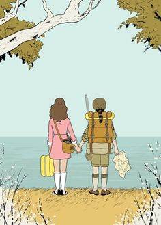 criterioncorner:    MOONRISE KINGDOM  by Adrian Tomine  (Re-blogged fromcriterioncast)  Adrian Tomine's beautiful Moonrise Kingdom illustration for Anthony Lane's review in The New Yorker.    Via Adrian Tomine News