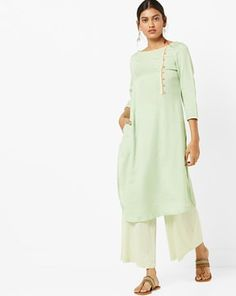 Check out Straight Kurta with Contrast Piping & Embroidery on AJIO! Contrast, Tunic Tops, India, Embroidery, Check, Women, Fashion, Moda, Goa India