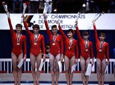 1985 world champion team (Mostepanova, Kolesnikova, Yurchenko, Shushunova, Baraksanova, & Omelianchik)