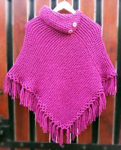 Poncho niña rosado tejido a palillos (Poncho dos agujas) / #knit #poncho #knitted #poncho #pink #needles #wear #pinkponcho by Suhyza