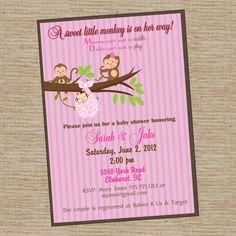 Monkey Pink  Baby Shower Invitation  PRINTABLE by photodesignz, $10.00