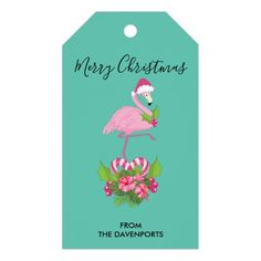 Pink Flamingo in Santa Hat Whimsical Christmas Gift Tags Christmas Gift Tags, Holiday Cards, Merry Christmas, Whimsical Christmas, Custom Ribbon, Personalized Gift Tags, Pink Flamingos, Santa Hat, Cute Pink