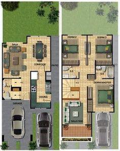 Planos de casas gratis de tres pisos en 127.50 m2 | Planos de Casas