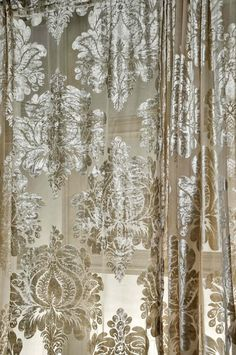 Isabella burnt out velvet faux silk curtains sold by Silkndrapes