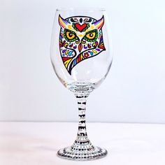 Hand Painted Wine Glass  Owl  Glasses  Sugar by NocturnalPandie