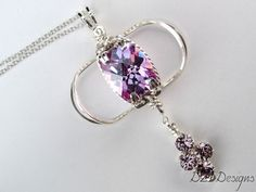 Purple Cubic Zirconia Prong Pendant with Crystal Cluster #Handmade #ArtisanJewelry #WireWrapped $108.00