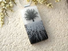 Tree Necklace  Fused Glass Jewelry  Tree of Life  by ccvalenzo, $30.00