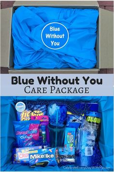 Missing a college student, intern or friend? Send this BLUE WITHOUT YOU Care Package and let them know you're thinking of them.