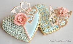 Heart, Butterflies and Rose Cookies