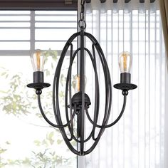 Warehouse of Tiffany Santona 3-Light 18-Inch Black Chandelier (3-Light 18-Inch Black Chandelier) (Metal)
