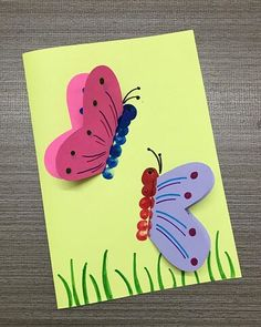 Diy Crafts For Kids Easy, Spring Crafts For Kids, Craft Activities For Kids, Summer Crafts, Toddler Crafts, Art Drawings For Kids, Art For Kids, Butterfly Cards, Cute Butterfly