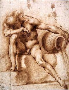 Francesco Furini - Nudo virile seduto,  sanguigna su carta grezza, mm. 351x276,  Firenze Gabinetto Disegni e Stampe della Galleria degli Uffizi