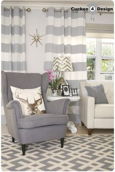 grey Ikea Strandmon Chair, Macy's Claudia Sofa, Overstock's Poolside Grey/Bone Indoor Outdoor Rug, DIY horizontal striped curtains (I hate the deer head pillow but like the room) Curtains Living, Living Room Windows, New Living Room, Living Room Sofa, My New Room, Home And Living, Living Room Decor, Living Room Inspiration, Home Decor Inspiration