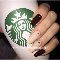 Nude, burgundy, gel polish, acrylic nails, gold studs, starbucks, gelish, pink gellac.