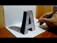 """3D Trick Art on Paper, Letter """"A"""" with Graphite Pencil - YouTube"""