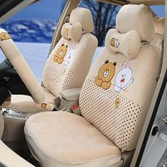 1 Set Fashion Cony&brown Beige Soft Plush Universal Car Seat Covers Full Set Steering Wheel Cover - - Amazon.com