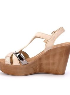 Ladies Wedge T-Bar Strap Sandal – Ladies fashion wedge sandal with t-bar strap design – Buckle ankle detail with metallic strap accents – Colour: beige Strap Sandals, Wedge Sandals, Wedges, Ankle, Lady, Womens Fashion, Silver, Stuff To Buy, Shoes