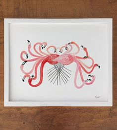 Flamboyance of Flamingos Art Print by Betty Hatchett Designs on Scoutmob