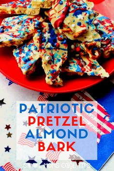 Savory and sweet all at the same time!  This Patriotic Pretzel Almond Bark looks beautiful at every dessert table and tends to disappear pretty quickly.  Best part? it is easy and quick to make.   Fabulous for a hostess gift or  a little something to have while watching fireworks!
