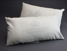 2pcs Junction Produce White Leather Embroid Auto Seats Waist Backrests Pillows   eBay