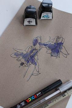 "Day 21: Herba dos pitos (Aguileña común) ""Aquilegia vulgaris""  #InkTober #InkTober2016 #InkToberEspaña #FloraDaGaliza Inktober, Herbs, Drawings, Herb, Sketches, Drawing, Portrait, Draw, Grimm"